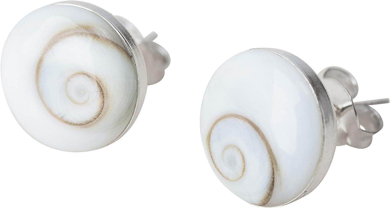Pendientes Plata de Ley Mujer Piedra Santa Lucía Natural - Pendientes Pequeños de Botón Plata Redondos con Ojo de Shiva Redondos