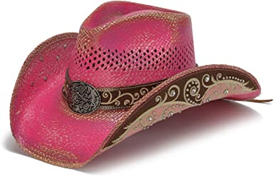 Women/'s Calico Flower Straw Cowgirl Hat Turquoise One Size