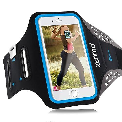 Brassard Sport iPhone 7 Plus, zenmo Universel Brassard Téléphone avec Clés, Argent & Écouteurs, Sangle Ajustable, pour le Jogging,Running, Vélo pour iPhone 6s/ 7plus, Samsung Galaxy S7/ S6/ S5 Jusqu'à 5.5″ (Noir)