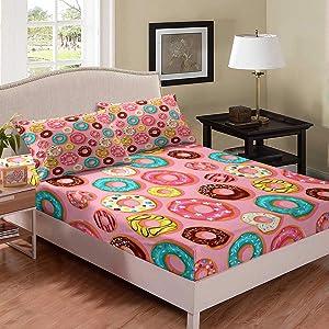 Erosebridal Food Bedding Set, Colorful Donuts Sheet Set Queen Size for Kids Girls Boys, Dessert Design Fitted Sheet, Soft Lightweight Bedspread Cover Bedroom Living Room Decor, Pink