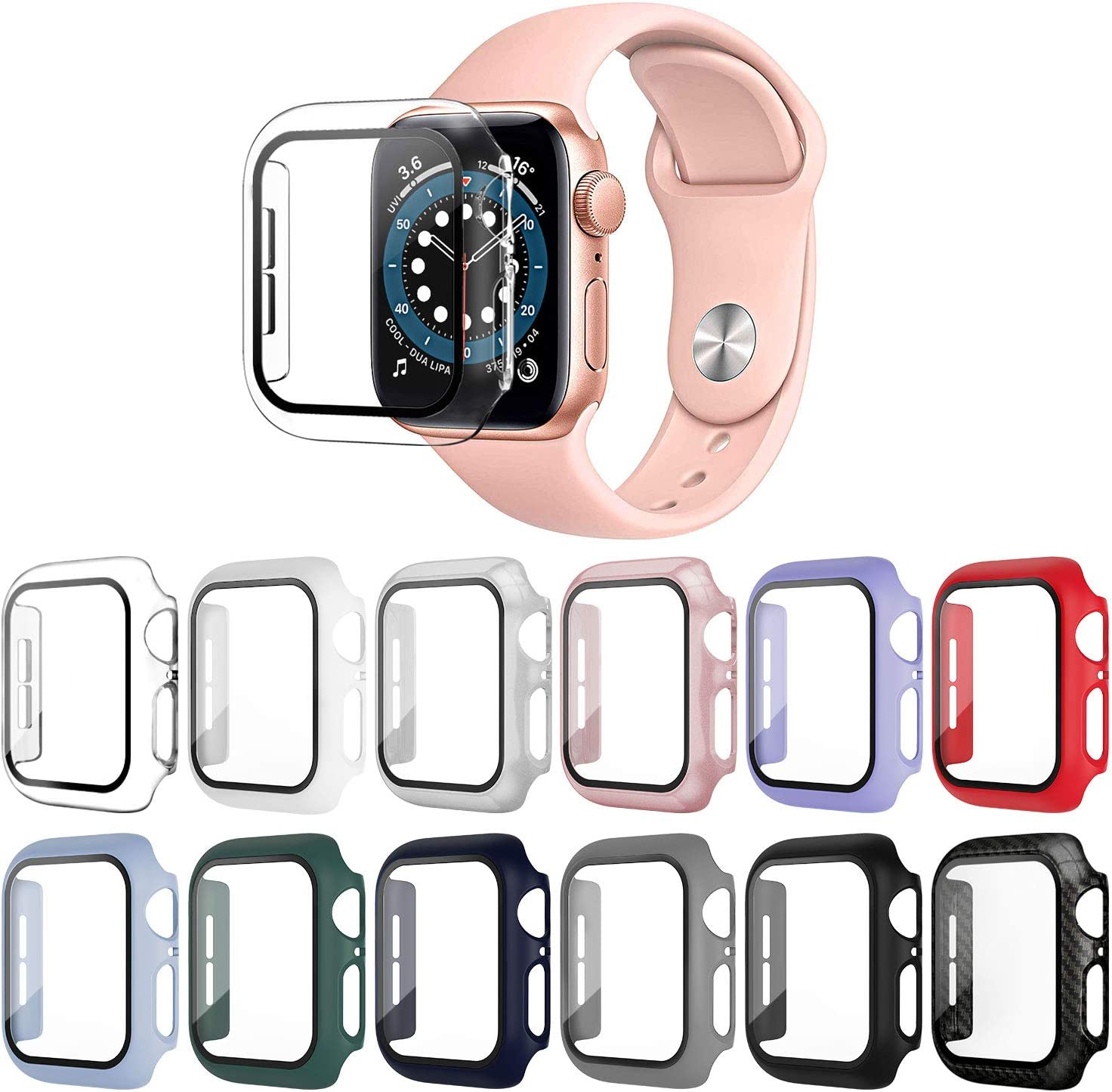 OMEE 12 Pack Apple Watch Case 40mm Series 6/5/4/SE with Tempered Glass Screen Protector, Ultra-Thin Hard PC Shockproof iWatch 40mm Accessories Bumper Full Protective Cover for Men/Women