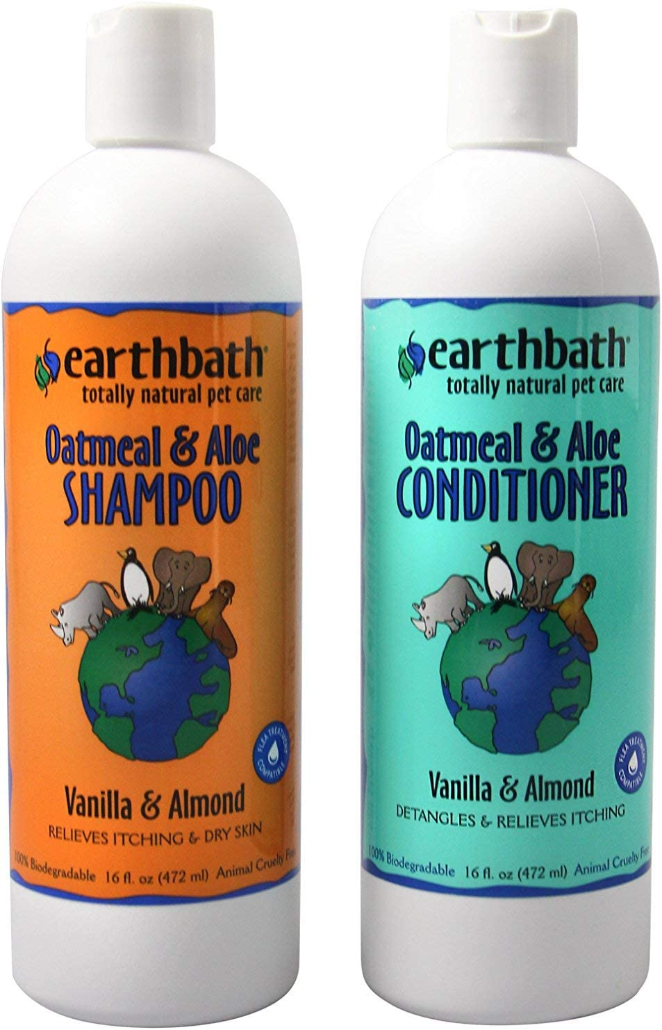 Earthbath Oatmeal & Aloe Shampoo / Conditioner Bundle (Vanilla & Almond) - (1) 16 OZ Shampoo, (1) 16 OZ Conditioner