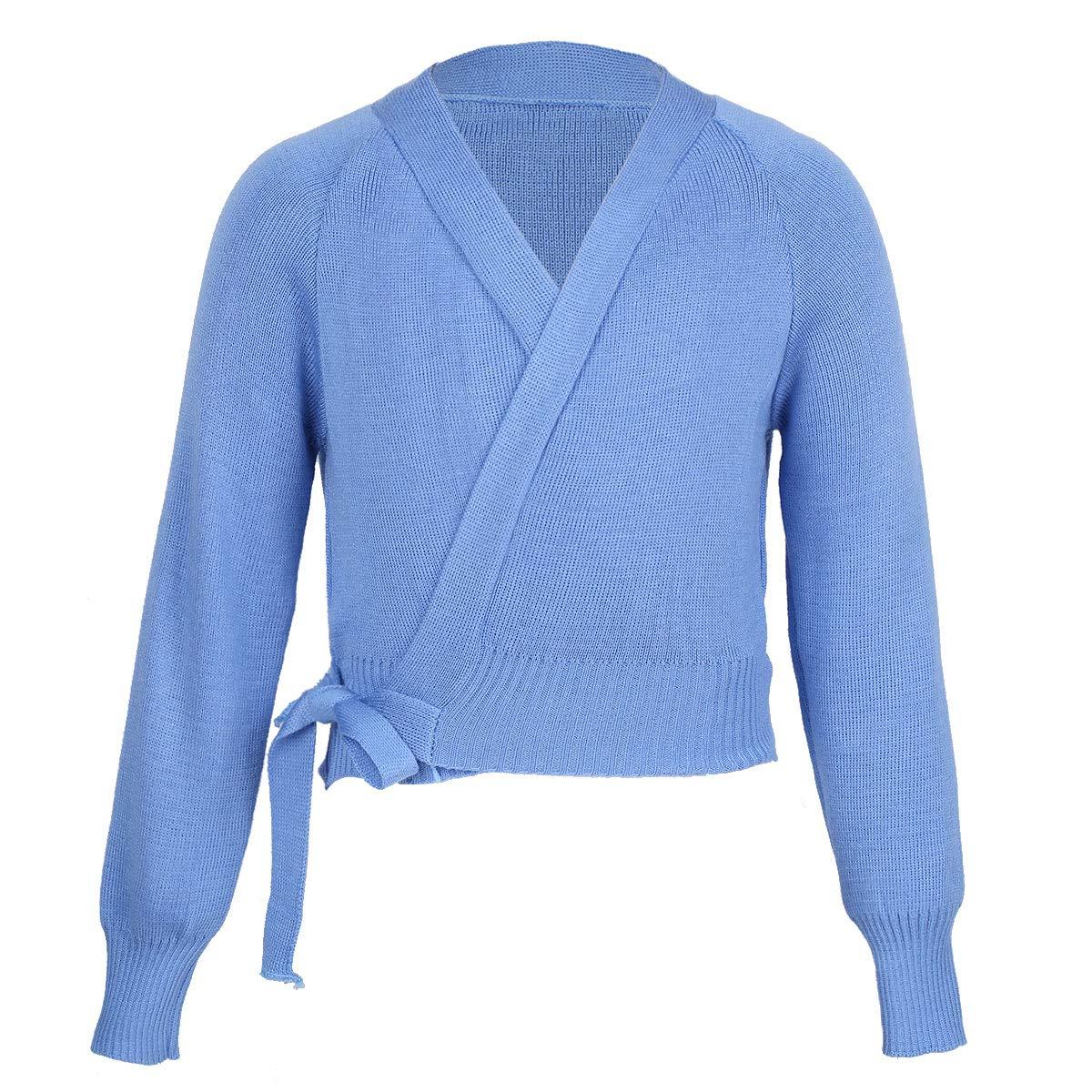 MSemis Kids Girls Cotton Long Sleeve Knit Cardigan Sweaters Ballet Dance Front Knot Wrap Tops Coat Shrug