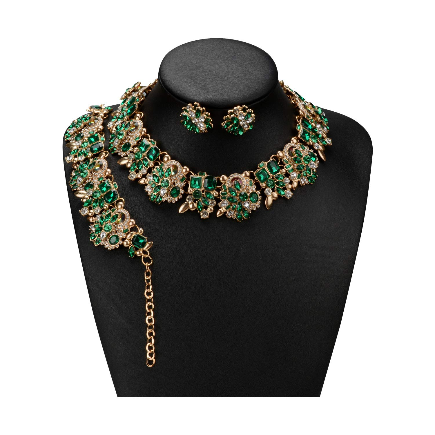 Holylove Green Retro Style Statement Necklace Bracelet Earrings for Women Novelty Jewelry Set 1 with Gift Box-8041BGreen Set