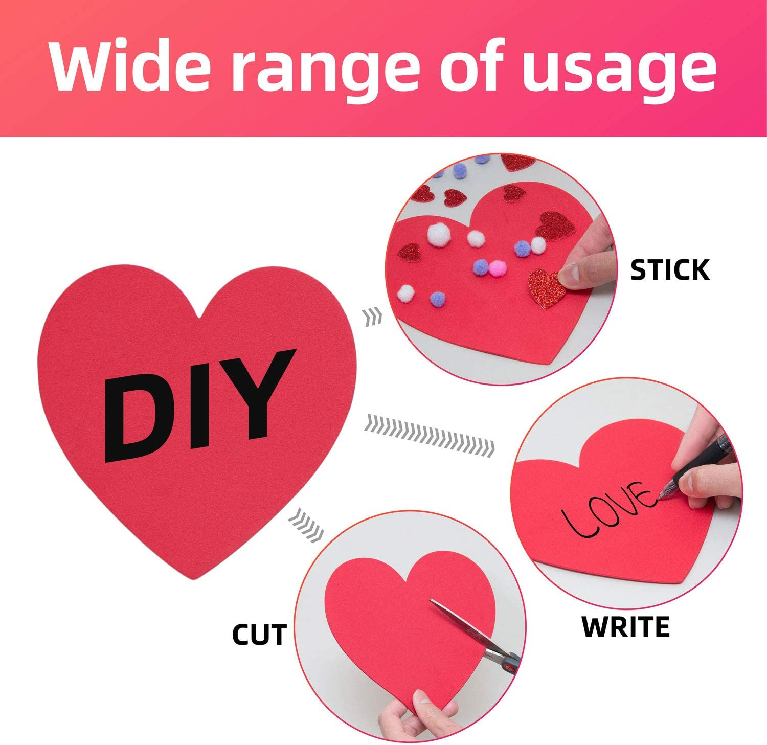 Aweyka 228 Pieces Valentines Foam Heart Craft Set Includes 20 Heart Shaped Foams 100 Glitter Self-Adhesive Heart Stickers 100 Pom-poms for Valentines Day Wedding Anniversary Birthday Party Supplies