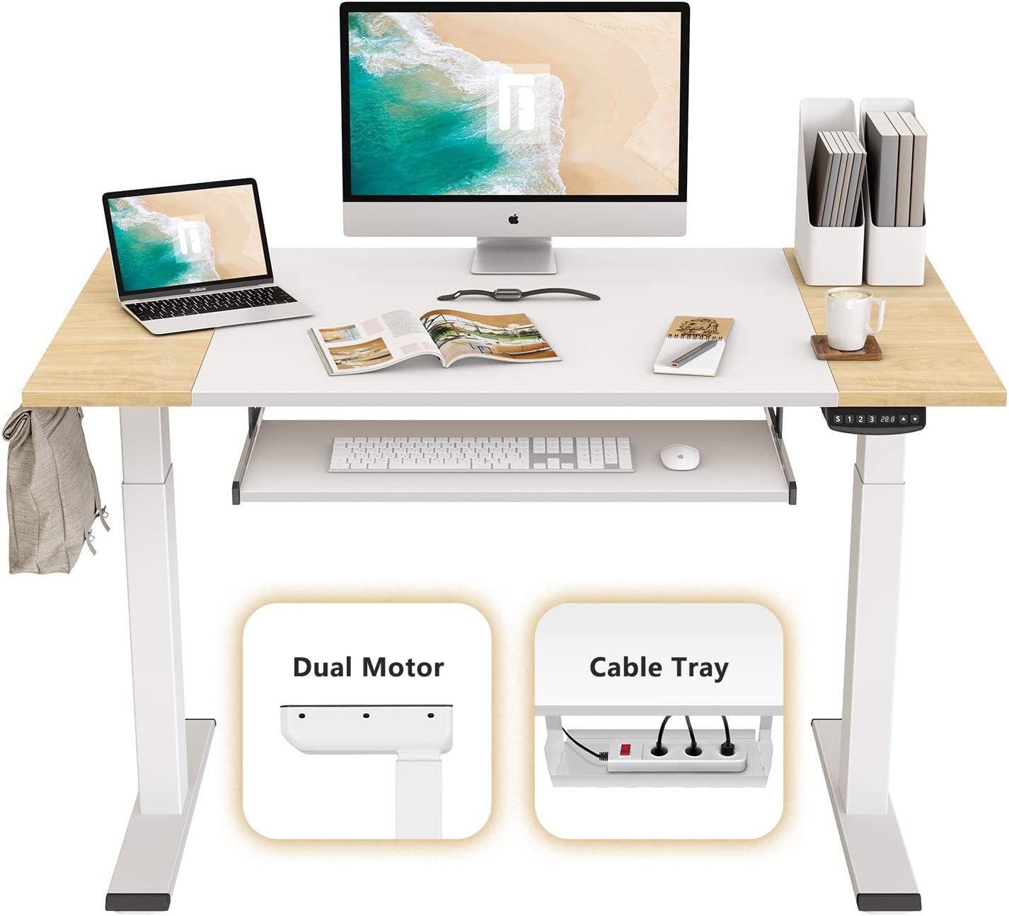 FEZIBO Dual Motor Height Adjustable Electric Standing Desk, 48 x 24 Inches Full Sit Stand Home Office Table with Splice Board, White Frame/Natural and White Top