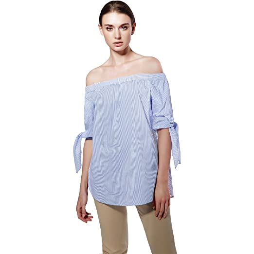 b6feb4f922b 2017 Plus Size Women Sexy Blouses Slash Neck Off Shoulder Casual Tops Shirts  Blue White Striped Party Blusas at Amazon Women's Clothing store:
