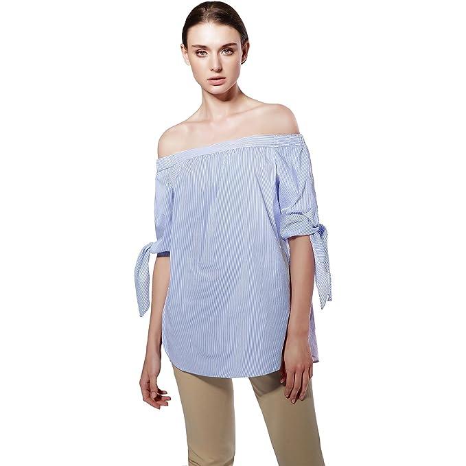 2017 Tamaño grande Mujeres Blusas Slash Cuello de Hombro Arco manga Casual Tops Chemises Azul Blanco