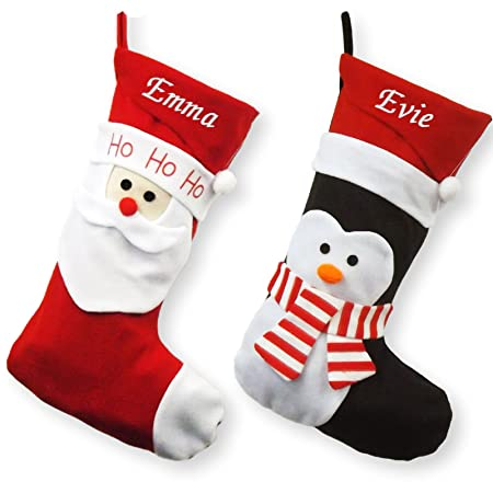 d3 personalised luxury embroidered christmas stockings santapenguin design deluxe penguin - Embroidered Stockings Christmas