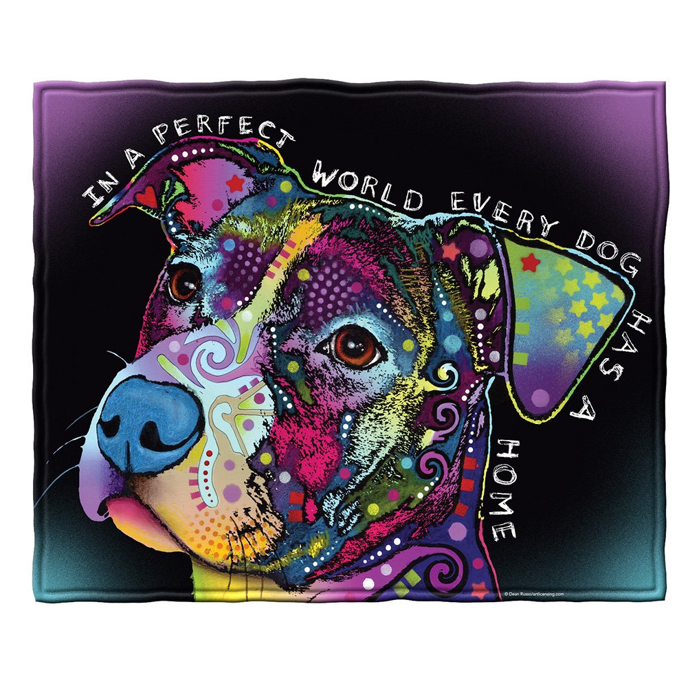 Dean Russo Perfect World Every Dog Has a Home Fleece Throw Blanket