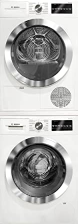 bosch 800 series washer. Bosch 800 Series White Front Load Compact Laundry Stacked Pair With WAT28402UC 24\u0026quot; Washer, Washer S