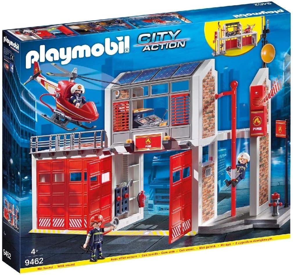 PLAYMOBIL City Action Parque de Bomberos con Efectos de Sonido, a Partir de 4 Años (9462): Amazon.es: Juguetes y juegos
