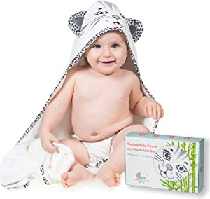 Precious Tots Premium Large Organic Bamboo Hooded Bath Towel and Washcloth Gift Set, Super-Soft and Ultra-Absorbent Unisex Baby Towels for Newborns,Infants,Toddlers,Kids| 35 inches x 35 inches