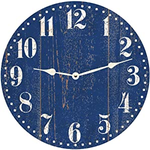 Rustic Blue Wall Clock No Ticking Round Wood Clock Blue Vintage Home Decor Living Room Bedroom Office School Baby Room Clock Easy to Read