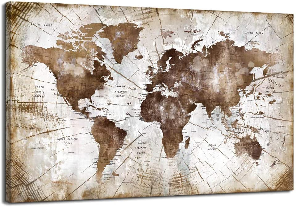 Large Vintage World Map Canvas Wall Art Abstract Brown Watercolor World Map With Vintage Driftwood Background Modern Framed Wall Decor for Living Room Bedroom Big Office Wall Decoration Size 36x48