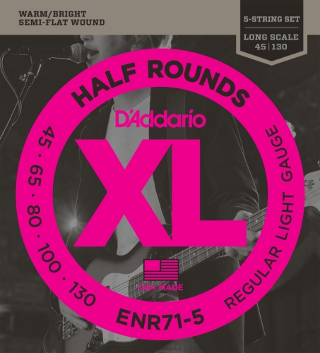 (D'Addario ENR71-5 Half Round 5-String Bass Guitar Strings, Regular Light, 45-130, Long Scale)