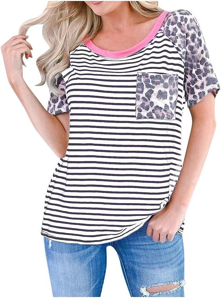 Womens T Shirts Leopard Print Short Sleeve Tees Tops Stripe Patchwork Sweatshirts EAZsyn8