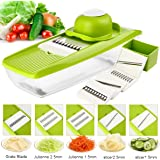 Mandoline Slicer Multifunctional Vegetable Peeler Slicer, Food Container for Vegetable Fruit Cheese Cutter with 5 Interchangeable Stainless Steel Blades + Cutting Board + Blade Box + Hand Gard -GynTi