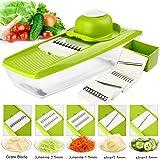 Mandoline 5 en 1 Multifonction Professionnelle Couper les Legumes Fruit avec 5 Lames Différentes Couteau , frotter son utilisation,boîte de stockage des aliments, outil à main de protection, boîte de stockage de la lame