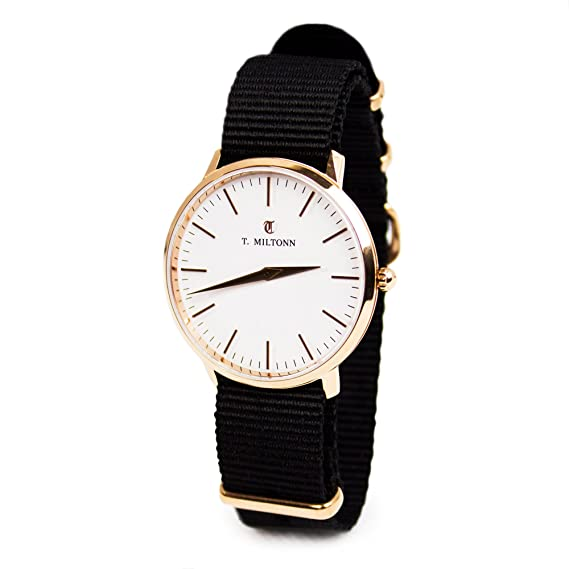 Reloj mujer extra-plate chapado oro rosa pulsera NATO Negro