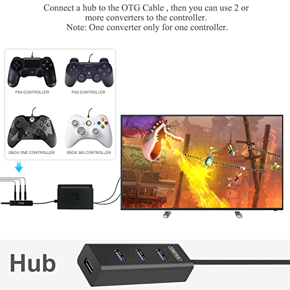 FYOUNG Controller Converter for Nintendo Switch, Support for PS3/PS4/XBOX  ONE/XBOX 360 Controller (Support TV Mode & Handheld Mode) with Type-C OTG