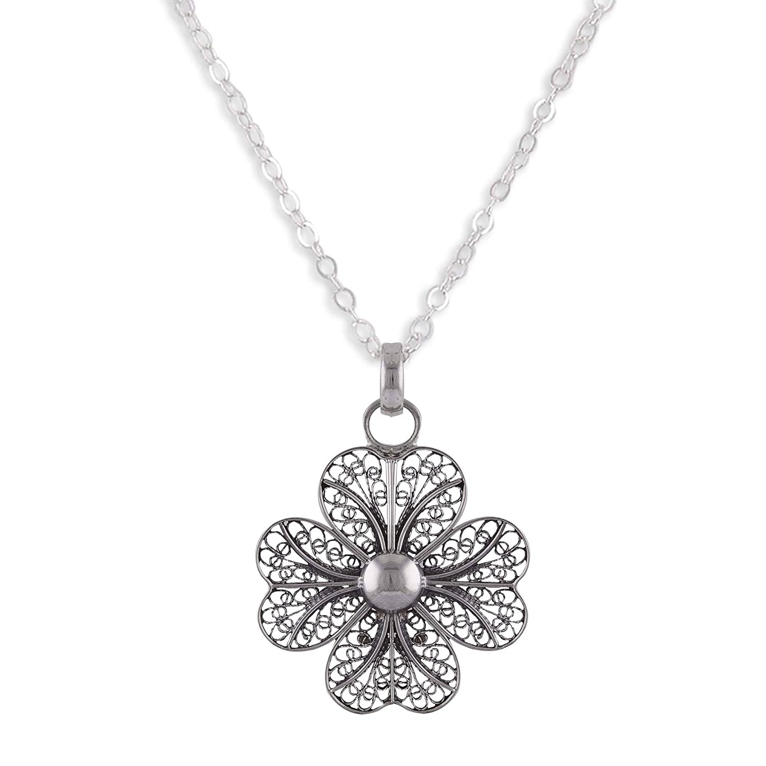 NOVICA .925 Sterling Silver Pendant Necklace 17.5 Enchanted Clover