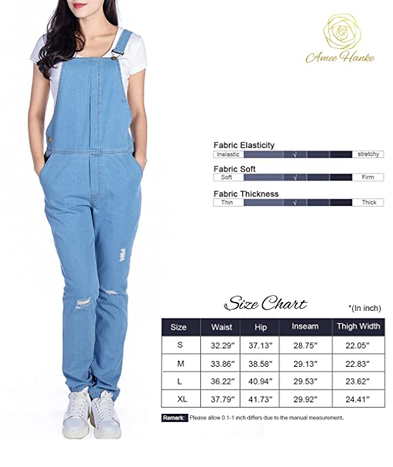 03af2be195cf Amazon.com  Women s Blue Denim Bib Jumpsuit Sexy Broken Holes Overall Pants  (L)  Clothing