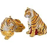Imperial Bengal Tigers Salt and Pepper Shaker Set Ceramic Safari Animals
