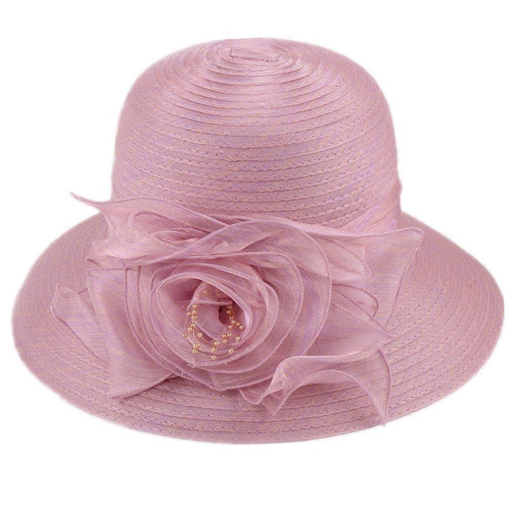 Nercap Women's Fascinator Tea Party Wedding Church Dress Kentucky Derby Hats Wide Brim Summer Cap (Light Purple)