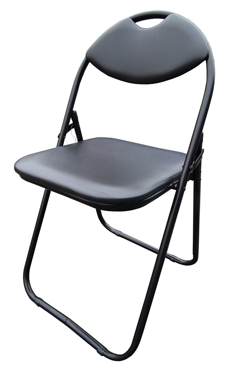 Ordinaire Black Faux Leather Folding Chair Padded Seat U0026 Back Rest Computer Office  Chairs: Amazon.co.uk: Kitchen U0026 Home
