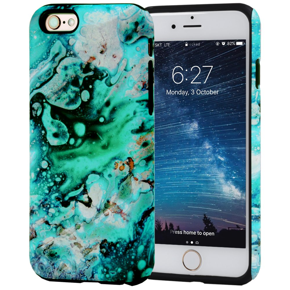 iPhone 6S Case, SKINU Wood Pattern [Shockproof 2 in 1 Hybrid] Rugged [Heavy Duty Combo] [Dual Layer] High Impact Durable Back Case Cover For iPhone 6 (2014)/6s (2015) - Emerald Marble