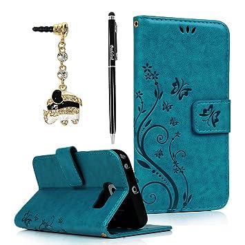 BADALink Hülle für Samsung Galaxy S6 Edge Schutzhülle Flip Case Magnetverschluss Cover Handyhülle Blau Eingabestift Staubstec