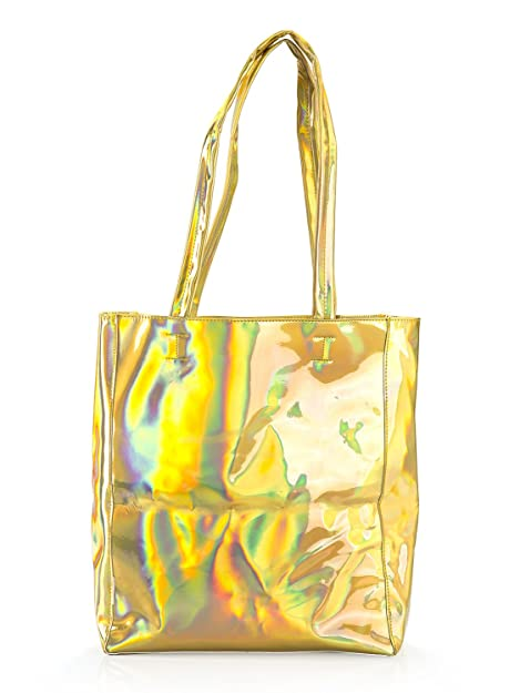 Amazon.com: Choies – Mujeres holograma PU Shopper, Dorado ...