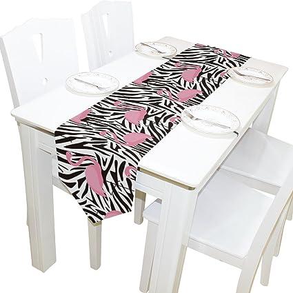 wxlife cebra rosa grúa Rainbow Imprimir Camino de mesa mantel individual 13 x 70 pulgadas Poliéster
