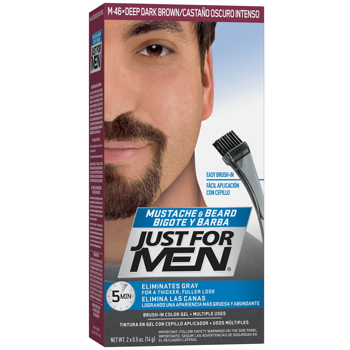 Just For Men Mustache & Beard Color, Beard Coloring for Men, Deep Dark Brown