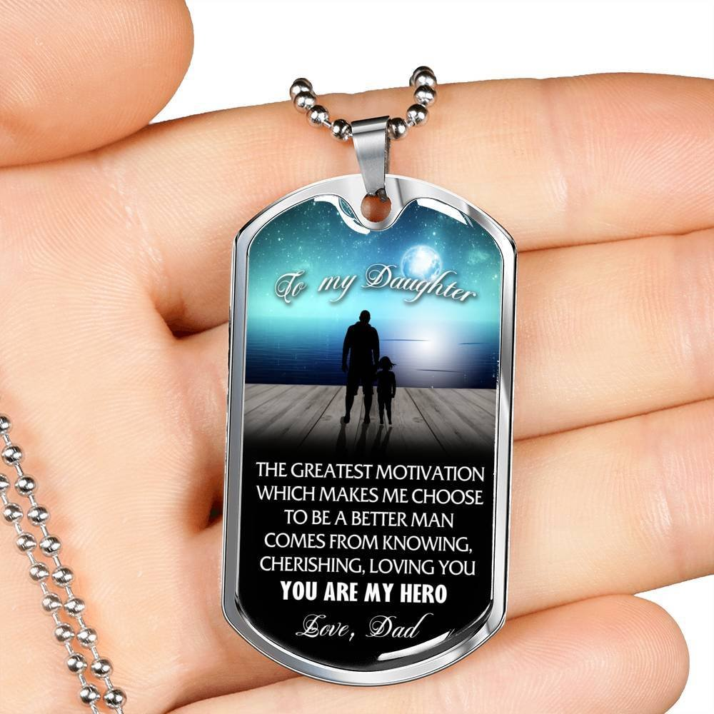 Inspirational Gifts For Daughter on Birthday Stainless Steel Dog Tag Message to my daughter from Dad Back To School Occasion Gifts Christmas