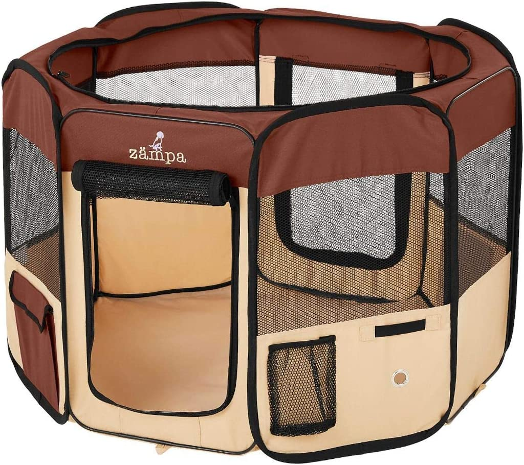 Zampa Portable Foldable Pet playpen Exercise Pen Kennel Carrying Case for Larges Dogs Small Puppies /Cats | Indoor / Outdoor Use | Water Resistant : Pet Supplies