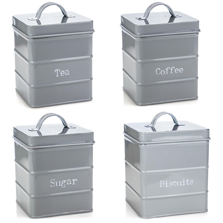Harbour Housewares Kitchen Storage Set in Vintage Metal - Tea Coffee Sugar Biscuits - Grey