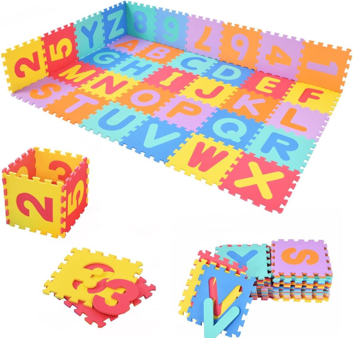 COSTWAY Alfombra Puzzle para Niños Espuma EVA Colchoneta Suave de 26 Letras y 10 Números Juego de Puzzle: Amazon.es: Juguetes y juegos