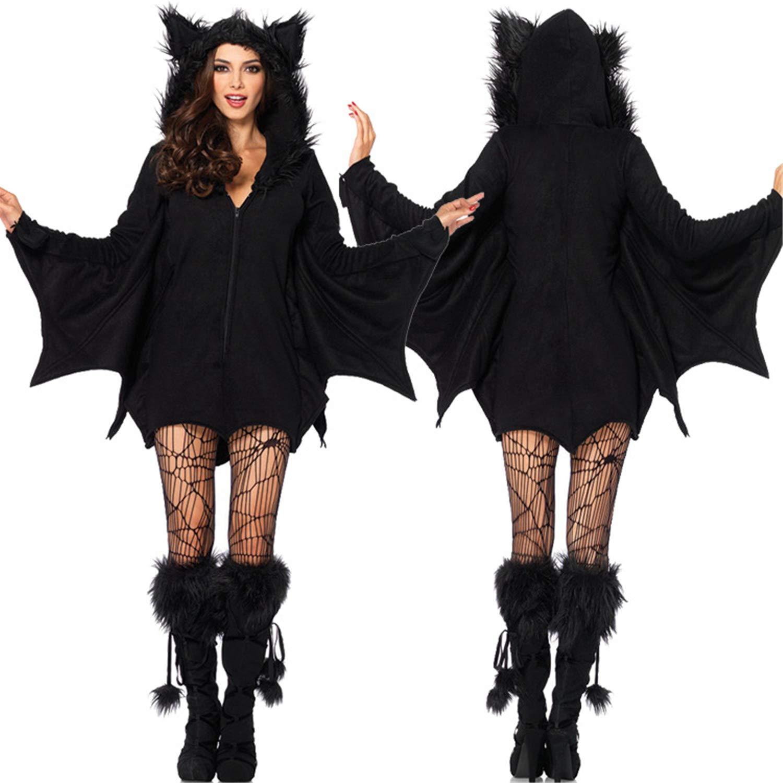 Mai Poetry Women's Halloween Cosplay Costume Bat Vampire Uniforms Party Cloak Coat Dress Up (Large, Black)