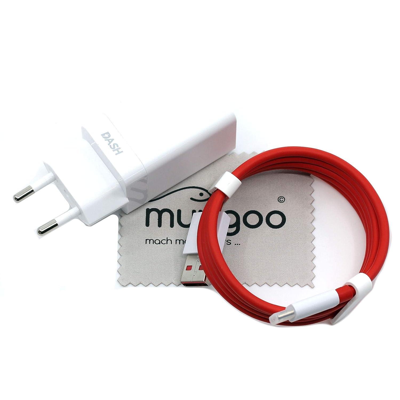 Cargador para Oneplus DC0504 + D301 Dash Charge 4A para Oneplus 7, 7 Pro, 6T, 6, 5T, 5 Cables de Carga rápidos, Fuente de alimentación con paño mungoo