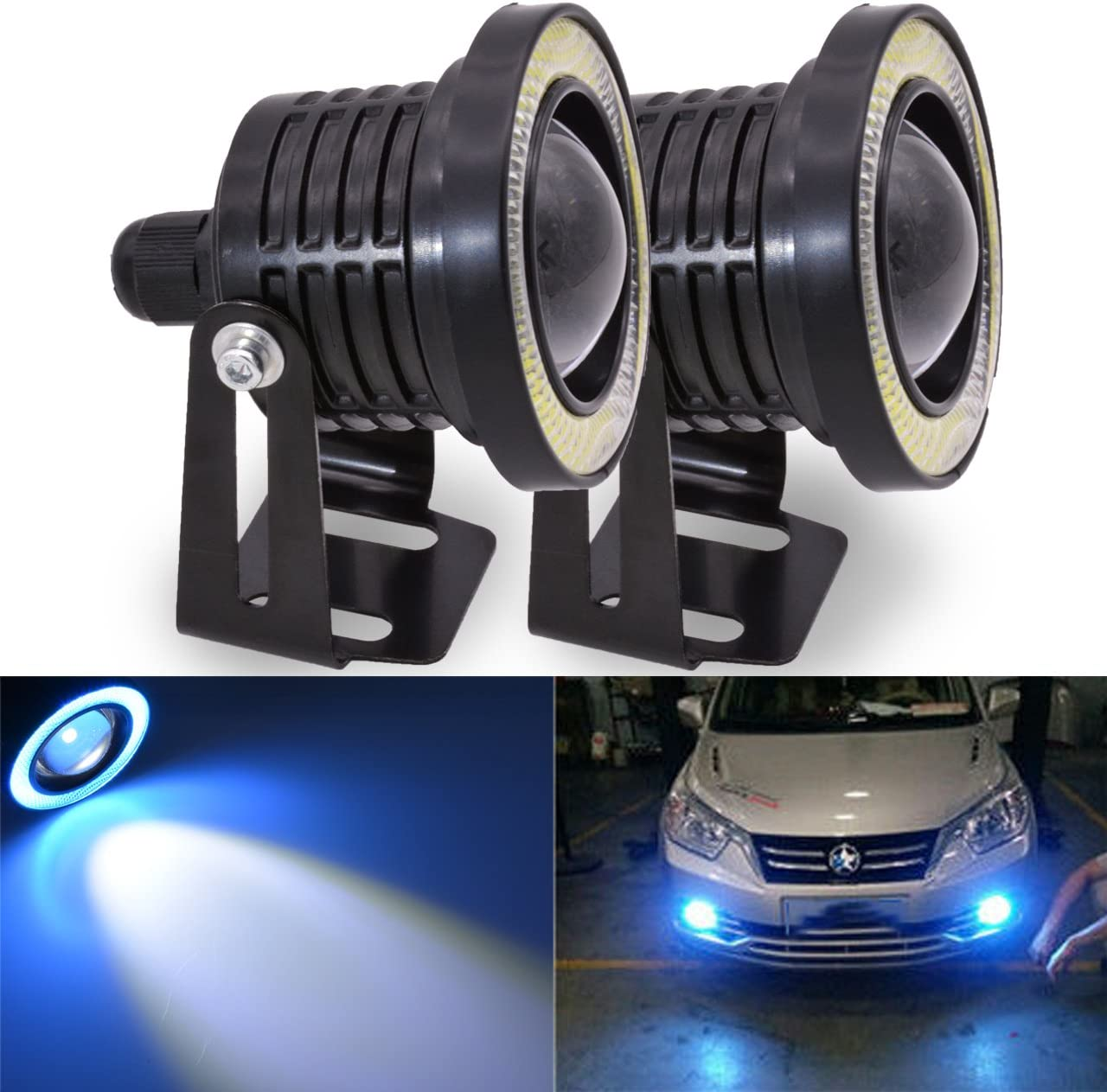 """2x 3.5/"""" Round LED Fog Light Projector Lamp Ice Blue Angel Eyes DRL Halo Ring"""