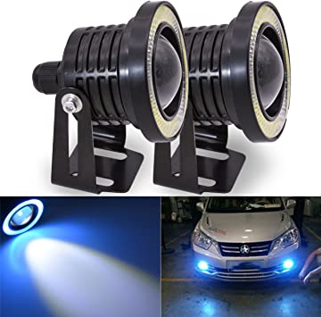 TABEN Universal COB Halo Angel Eye Rings DRL Driving Bulbs RGB LED Fog Light Daytime Running Lamp Projector With With Angel Eye Halo Ring 3.5 Inch