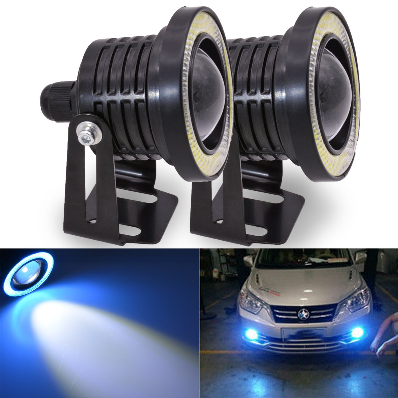 TUINCYN 3 Inch LED Fog Light White COB Halo Angel Eye Rings Used for Daytime Running Light DRL Car Driving Lights Projector Unversal RGB LED DC 12V-16V 3200 Lumens (Pack of 2)