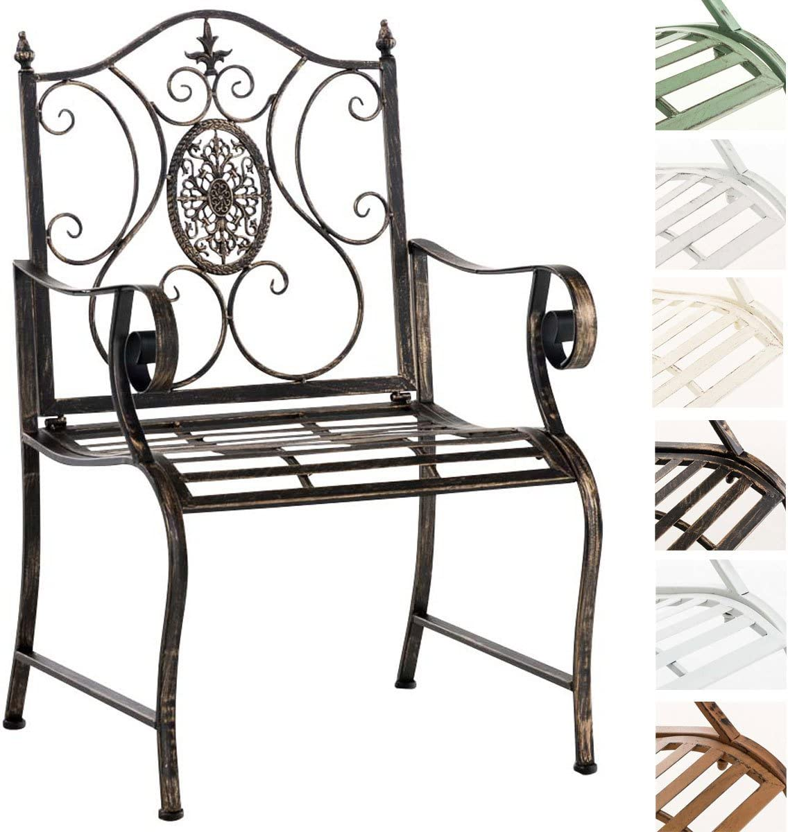 CLP Silla de Jardín Punjab en Estilo Antiguo con Apoyabrazos | Silla de Hiero en Estilo Rústico | Silla de Balcón Estilo Medieval | Color Bronce