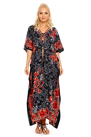 ce764ddd6194 Looking Glam donna lungo Oversize MAXI kimono tunica caftano Abito da sera  abito Amazon.it Abbigliamento ...