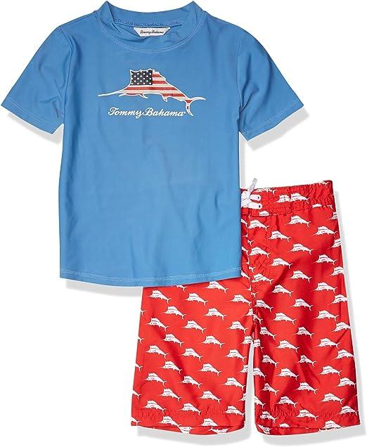 Tommy Bahama Baby Boys Infant Color Block Short Sleeve Swim Rashguard