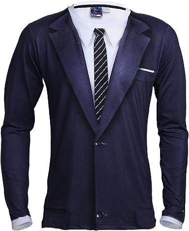 IEFIEL Camiseta de Manga Larga para Hombre Top blusa Camisa en Forma de Esmoquin Traje Formal Fiesta Cóctel Azul Oscuro S: Amazon.es: Ropa y accesorios
