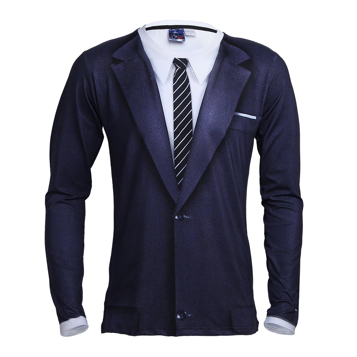 CHICTRY Men's Novelty 3D Printed Tie Tuxedo Long Sleeve T-Shirt Tops White Large