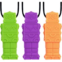 Panny & Mody Robot Sensory Chew Necklaces(3 Pack),BPA Free Silicone Pendant Chewable Jewelry, Reduce Chewing Biting…